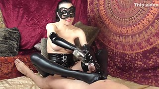 Hot FemDom Latex Footjob, Big Tit Wank, Blowjob and fuck