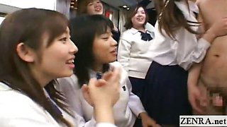 Subtitled CFNM Japanese schoolgirls teacher bus ride