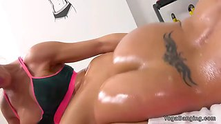 stunning lesbians tribbing asses at gym
