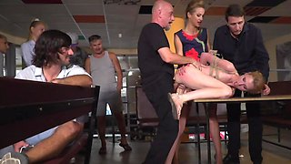 Petite blonde analyzed and humiliated by several studs