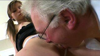 Horny mature teacher bonks naughty sweetheart senseless