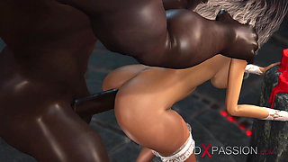 Hot sexy young bride and a big black cock in the dungeon