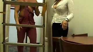 Bodacious blonde cougar in stockings has a hunger for cock