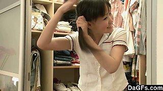 Petite Asian Orgasming Before School
