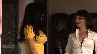 Mature woman seduce a shy brunette.
