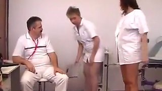 Perverted doctor inspects a pregnant woman internally.
