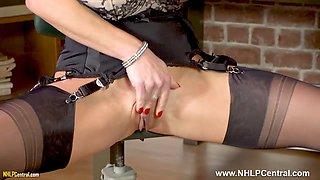 Blonde big tits Secretary Tara Spades strips off panties wanks on desk in sheer nylons and heels