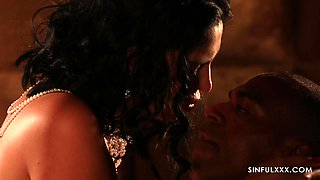 Romantic interracial sex between cute bride Kira Queen and her hubby