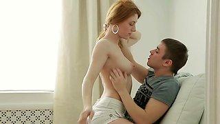 Passionate redhead cutie Sara C does a perfect blowjob