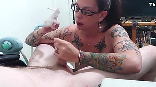 Big Titty Milf havin a Smoke Sucking my Man's Cock and Balls
