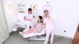 Sexy nurse and doctor have fun with a patient
