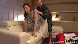 Chubby Asian wife Reiko Shimura gets undressed and fucked balls deep