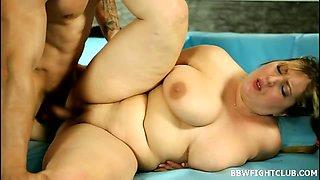 BBWs wrestling nude on the mat
