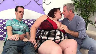 Sexy and horny BBW sucks cock and gets drilled deep by two