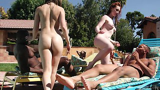 Outdoor group sex party with Jane Wilde, Athena Rayne and black guys