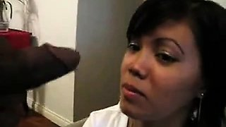 Filipina maid sucks her black boss for a raise