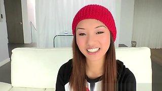 Awesome bald asian young tart Alina Li blows the dick