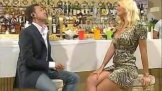 Blonde Italian bombshell cleavage in a tv show upskirt porno video