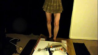 Sexy slender amateur babe in high heels punishes a cock