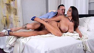 Romanian Busty Sex Goddess Titty Fucks Hung Stud