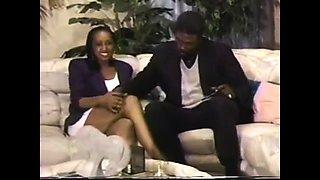 Ebony wife watches her black husband fucking a blonde milf