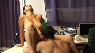HOT FUCK #135 Sexy Cougar MILF & Younger Lover, Office