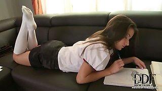 Schoolgirl Pisses In Trashcan