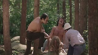 Four Horny Lumberjacks Abuse Camille Keaton Outdoors In The Forest