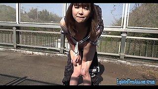 Jav College Girl Chan Fucks Outdoors On Public Bridge Uncensored Traffic Passes Below As She Fucks