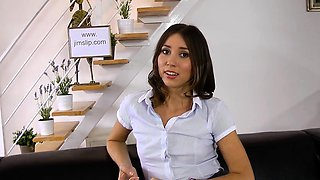 Young russian cutie in stockings fucks at casting