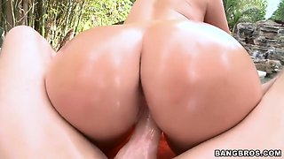 Ava Alvares's big oiled ass gets fucked