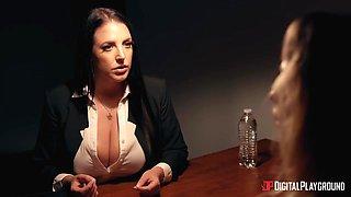Ample breasted lesbian Angela White fucks greenhorn Ivy Wolfe