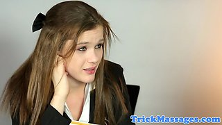 Cute teen jizzed in mouth by masseur