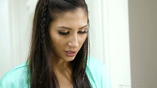 Stunning girl Gianna Dior gives a slippery massage after taking a shower