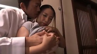 Japanese wife satisfy husband boss for promotion